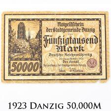 1923 Germany Danzig 50000 Mark Note Good Senate of the Municipality P#20