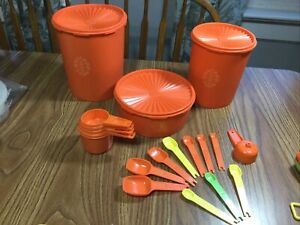 Vtg. TUPPERWARE Orange Lot~  CANISTERS ~ Measuring Cups ~ Spoons +