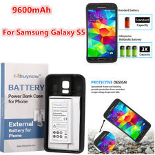 UK 9600mAh Replacement Extended Battery W/ Black TPU Case For Samsung Galaxy S5