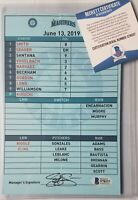 SEATTLE MARINERS GAME-USED DUGOUT LINEUP CARD BECKETT BAS COA SIGNED MLB GORDON