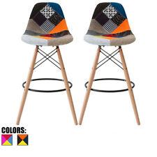 Set of 2 Modern Bar Stool Pub Chairs With Back Eiffel Solid Wood Dowel Metal