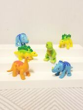 """Colorful Assorted Plastic Rubber Dinosaur 3"""" T-Rex Lot of 6"""