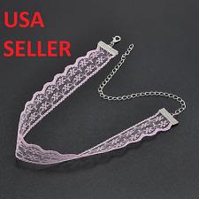 Pink Retro Tattoo Choker Flower Boho Lace Gothic Punk Collar Necklace USA SELLER