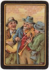 Playing Cards 1 Swap Card - Old Antique Wide Old Men Busking Busker Guitar Music