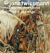 Fine-Art PAINTING PRINT Belgian Amish Draft Work Farm Flaxen Horses, New, S/N