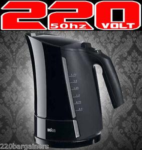 Braun 1.7L 220 Volt Cordless Electric Kettle 2200W Auto Shut Off (Non-USA) WK300