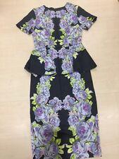 Asos Peplum Dress Floral Print Sheath Midi Sz 2 XS