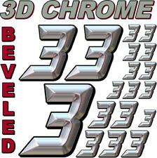 (3's) 3-D CHROME BEVELED NUMBERS Decal Sticker Sheet 1/8-1/10-1/12 RC Model3