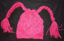 girls size small magenta Pink Knit Winter Hat long braids on side Cute Clean @