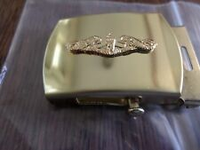 U.S NAVY GOLD SUBMARINE SOLID BRASS BELT BUCKLE MADE IN THE U.S.A