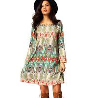 Women African Print Dashiki Bodycon Dress Summer Party Holiday Short Mini Dress