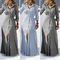 ZANZEA UK Womens 3/4 Sleeve Belted Striped Shirt Dress A-Line Flare Maxi Dresses