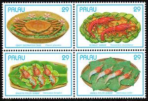 Palau 314 Bl/4, MNH. Seafood. Giant crab, Shrimps, 1993