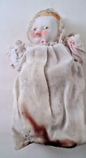 """1930s 5"""" Hinged All Porcelain Bisque Baby Doll Blue Eyes Rosy Cheeks Japan Made"""