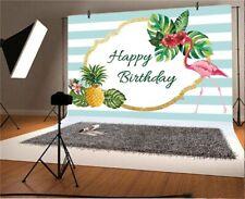 7x5Ft Happy Birthday Summer Flamingo Backdrop Background Studio Photography Prop
