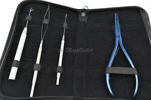 Hair Extensions Blue Tool Set For Micro Rings Tube Pulling Loop Needle Pin Wire