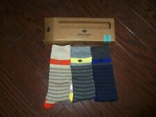 NWT MENS SPERRY SET OF 3 STRIPE CREW SOCKS