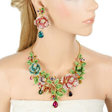 Rose Flower Multicolor High Quality Austrian Crystal Necklace Earrings Set Women