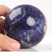 503g 72mm Large Natural Blue Sodalite Crystal Sphere Healing Ball Chakra