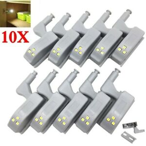 10PCS Cabinet Hinge LED Sensor Light For Wardrobe Cupboard Door Kitchen Closet