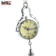 New Antique Crystal Ball Vintage Silver Pocket Watch Necklace Quartz Chain Gift