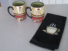 3 Piece Set / 2 Mugs and 1 Kitchen Hand Towel / Java Coffee Tea / NEW