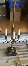 "Vtg Brass Bouillotte 3 Armed Candelabra Lamp attrib to CHAPMAN? 24"" Marble Base"