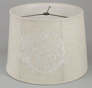 Embroidered Linen Shade, Softback, 7x12x8, Washer Fitter