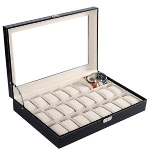 1x PU Leather Watch Case Top Glass 24 Grids Display Black Watch Metal Lock Box