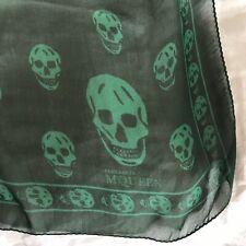 Alexander McQueen Emerald Green Silk Skull Scarf, BNWOT