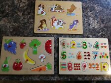 Set of 3 Peg Puzzle Boards For Babies Toddlers Young Children, /Pre-school
