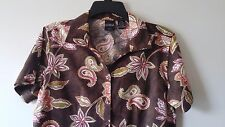 Women's ERIKA Petite PM Cotton Blend Casual Button Down Shirt Paisley Design