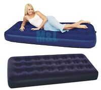 CQ BLUE BESTWAY SINGLE FLOCKED AIR BED BLOW UP CAMPING MATTRESS CAMP INFLATABLE