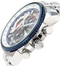 CASIO EDIFICE Chronograph 100M EF558D-2A EF-558D-2A White Blue Free Ship !