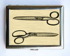 Retro Scissors Cigarette Case Wallet Business Card Holder victorian illustration