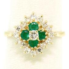 Prism Lite 14k Gelbgold 1.00 K rund Diamant & Smaragd Quadrat Haufen Ring