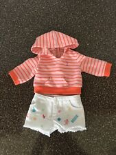 american girl doll playful beach outfit, hoodie and shorts