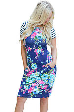 Abito aderente stampato Floreale Scollo Cerimonia Party Cocktail Floral Dress S