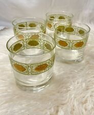 Vintage Lowball Rocks Glasses Green Gold Emerald Scroll Old Fashioned Barware /4