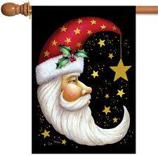 NEW Toland - Santa Moon - Christmas Winter Gold Star Black House Flag
