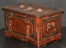SAFE ANTIQUE CAST IRON STRONG BOX treasure chest coffer padlock vintage cashbox