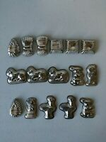 """Vintage Valentines - Christmas - Metal Chocolate Candy Molds Lot of 15 1 & 2"""" In"""