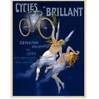 Cycles Brillant Cycling Poster Vintage Bicycling Art Poster by H Gray