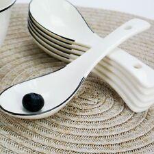 White Ceramic Chinese Spoons 10pcs Rice Scoop Set Home Restaurant Tableware