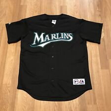 Vintage 90's Majestics MLB Florida Marlins Stitched Black Blank Baseball Jersey
