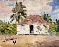Winslow Homer Native Hut Of Nassau Bahamas Painting 8x10 Real Canvas Art Print