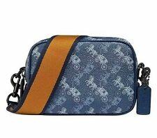 🌺🌹Coach Horse and Carriage Coated Canvas Camera Bag Blue True Blue/Sliver