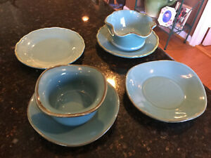 Southern Living at Home, Tuscan Toscana, Blue Tidbit Plates & Saucers, 6 items