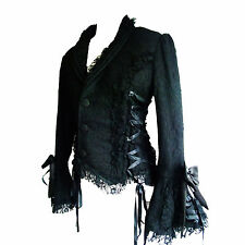 "Gothic Jacket by ""Raven"" in Full Black Lace over Black with Black Ribbon Lacing"