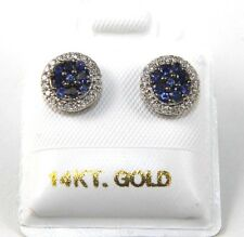 Round Blue Sapphire & Diamond Cluster Stud Earrings 14K White Gold .46Ct